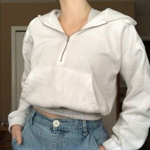 Free People Cropped white hoodie